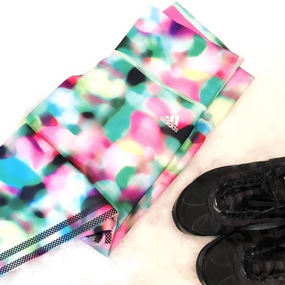 Adidas Pants Jumpsuits Adidas Multicolor Crop Climalite Leggings Poshmark
